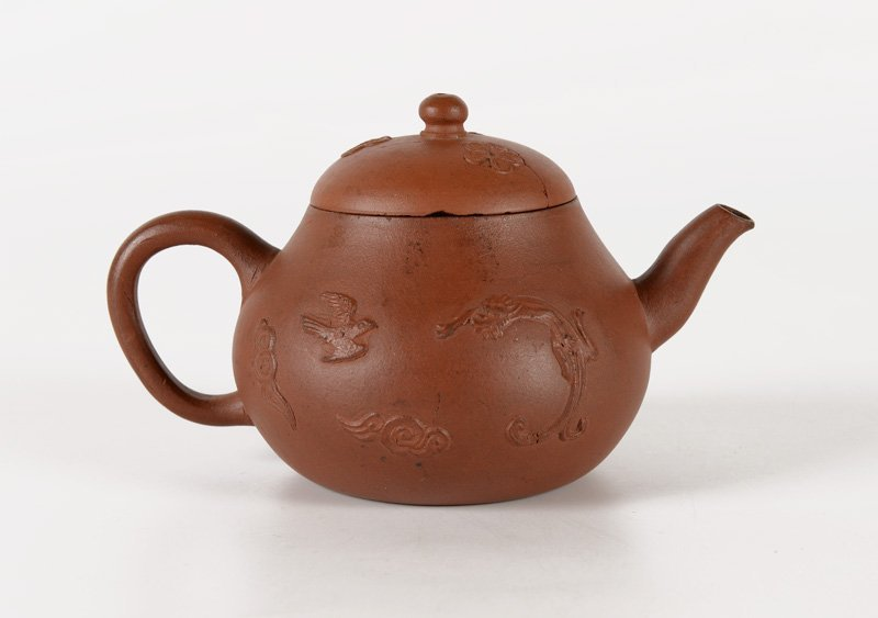 A yixing teapot decorated with the chilong dragon, - 3
