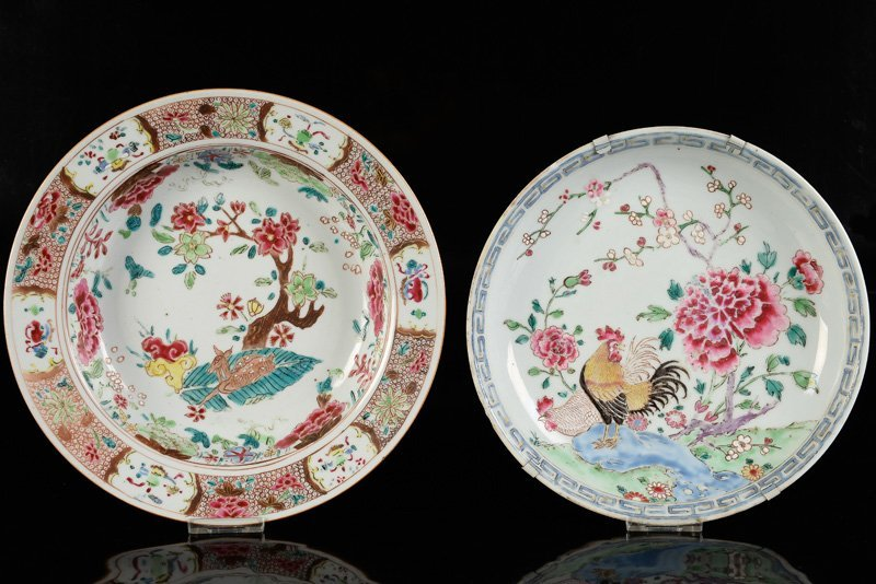 Lot of two plates. 1). Famille Rose deep plate