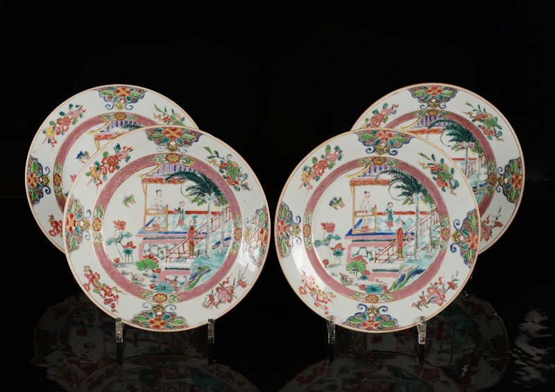 A lot of four Famille Rose porcelain plates, decorated