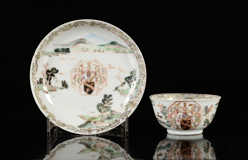 A Famille Rose Chine de commande cup and saucer,