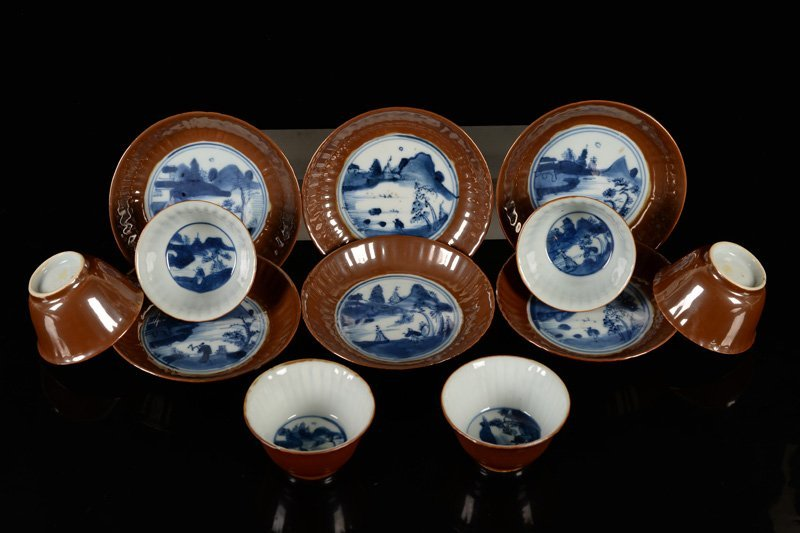 A set of six blue and white porcelain cups and saucers, - 3