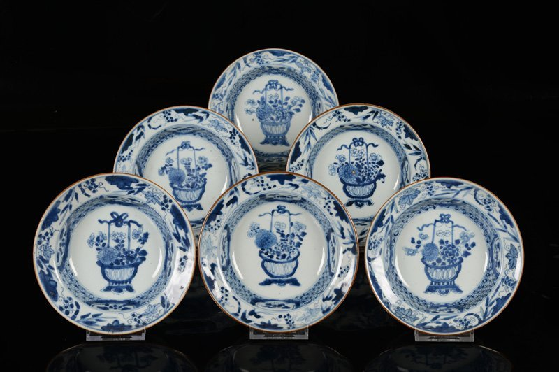 A lot of six blue and white porcelain cream plates,
