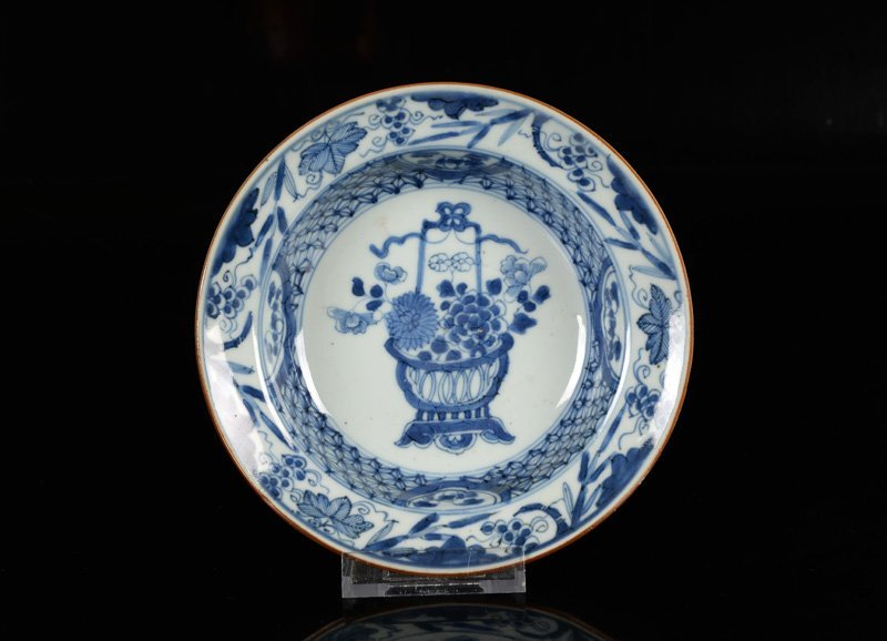 A lot of six blue and white porcelain cream plates, - 6