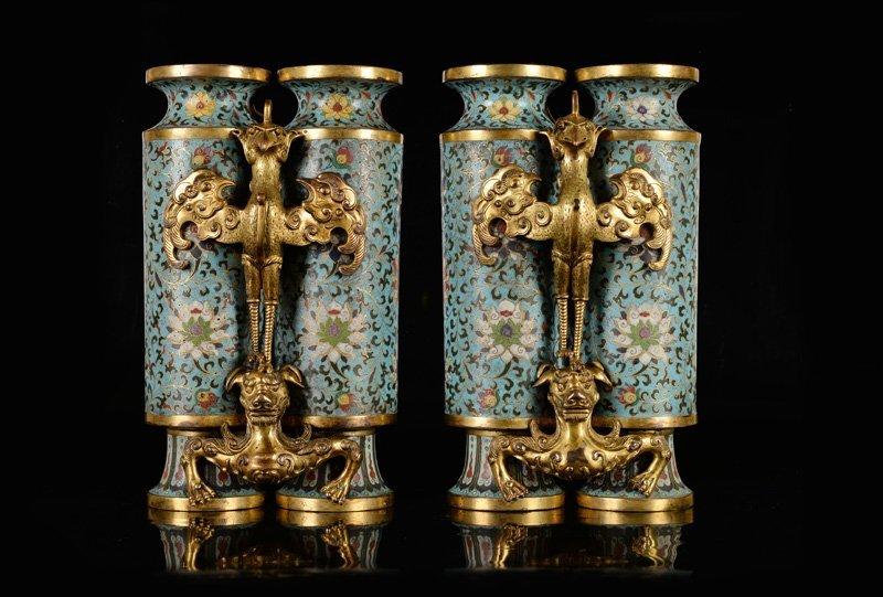 A pair of rare gilt-bronze and cloisonné enamel