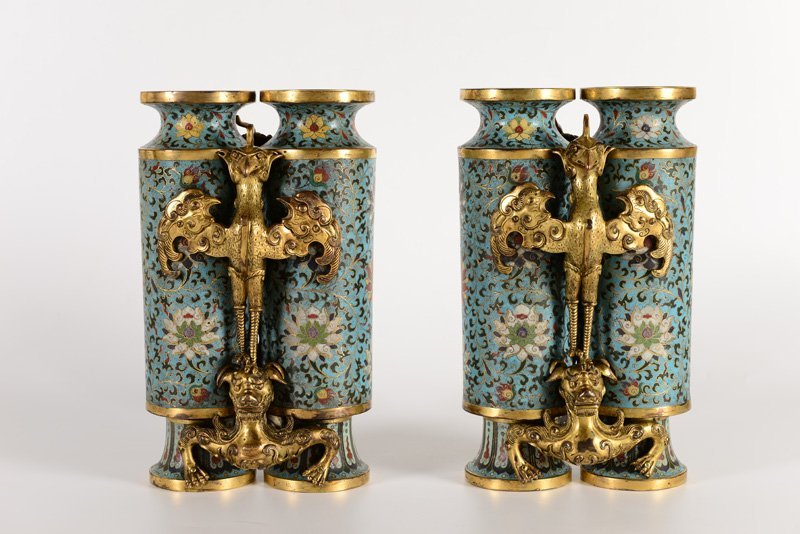 A pair of rare gilt-bronze and cloisonné enamel - 2