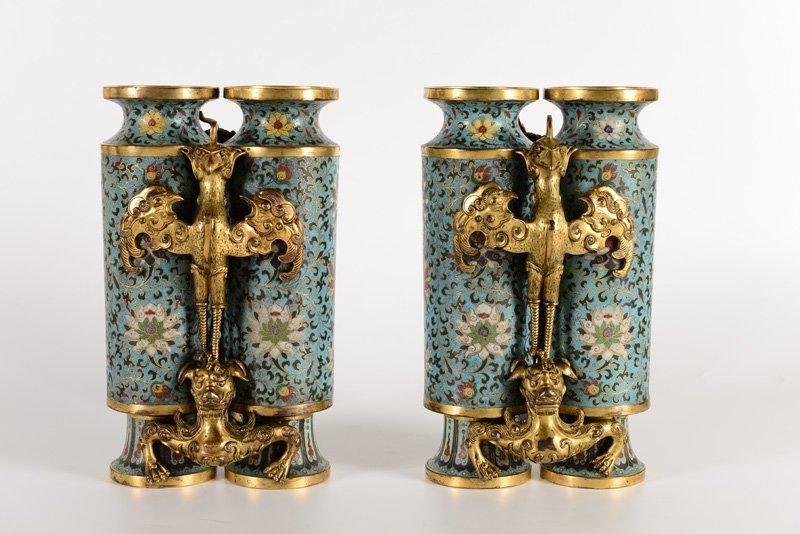 A pair of rare gilt-bronze and cloisonné enamel - 3