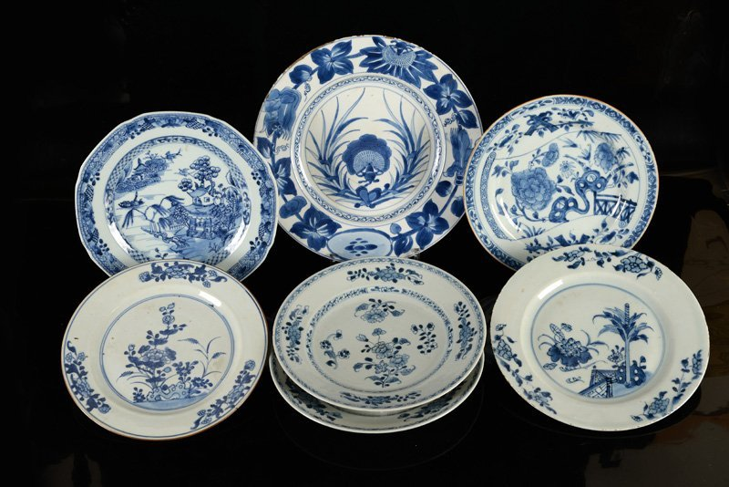 A lot of seven blue and white porcelain plates. China,