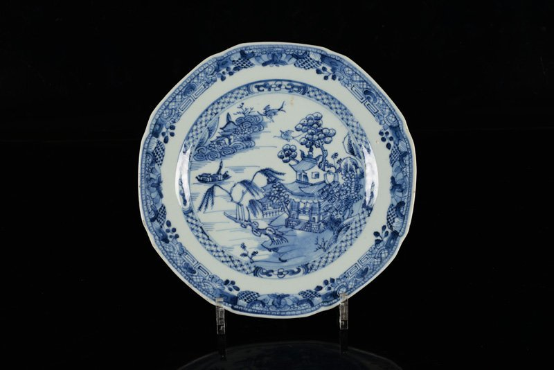 A lot of seven blue and white porcelain plates. China, - 4