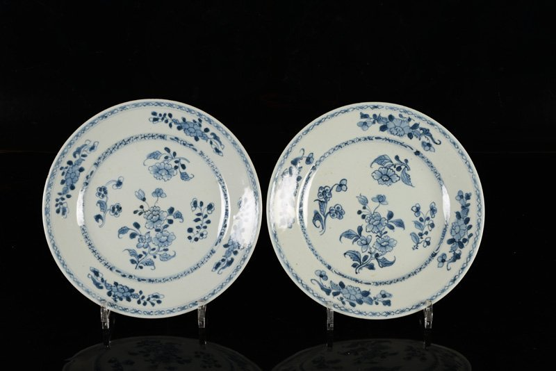 A lot of seven blue and white porcelain plates. China, - 6