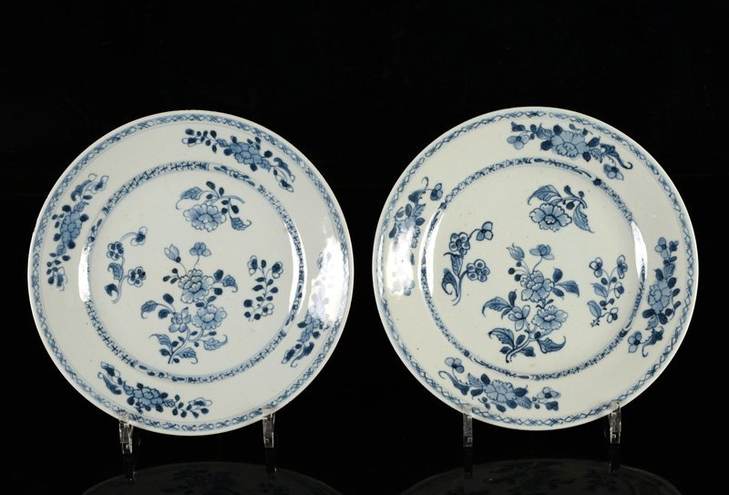 A lot of seven blue and white porcelain plates. China, - 7