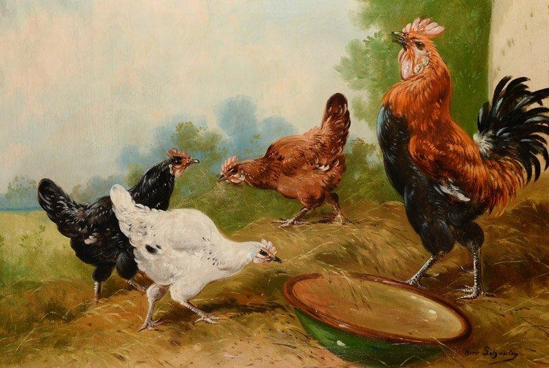Henry Schouten (1857-1927), 'Haan met kippen',