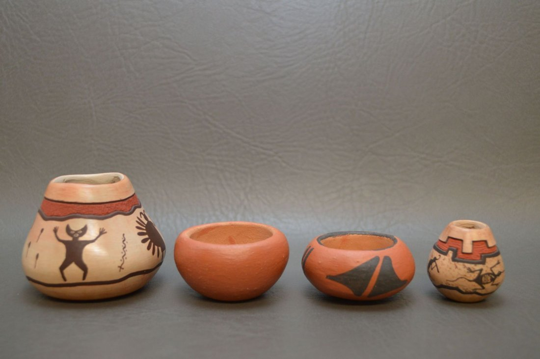 TWO SANTA CLARA AND TWO HOPI POTS