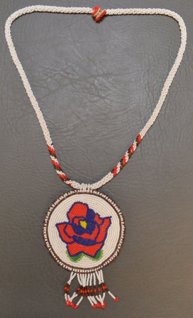 APACHE BEADED NECKLACE AND PENDANT