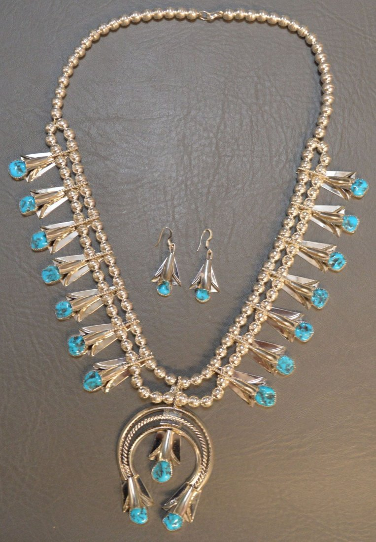 NAVAJO SQUASH BLOSSOM NECKLACE AND EARRINGS MARKED LY