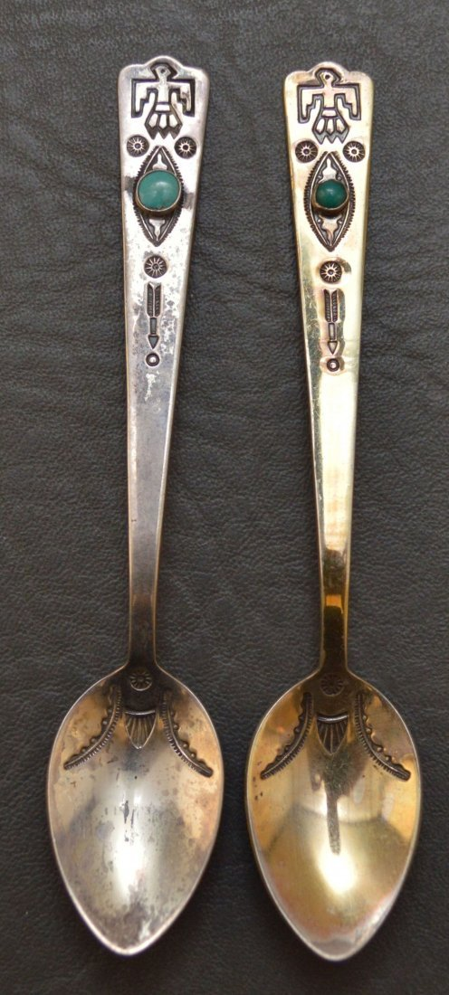 PAIR OF NAVAJO STERLING SILVER SPOONS