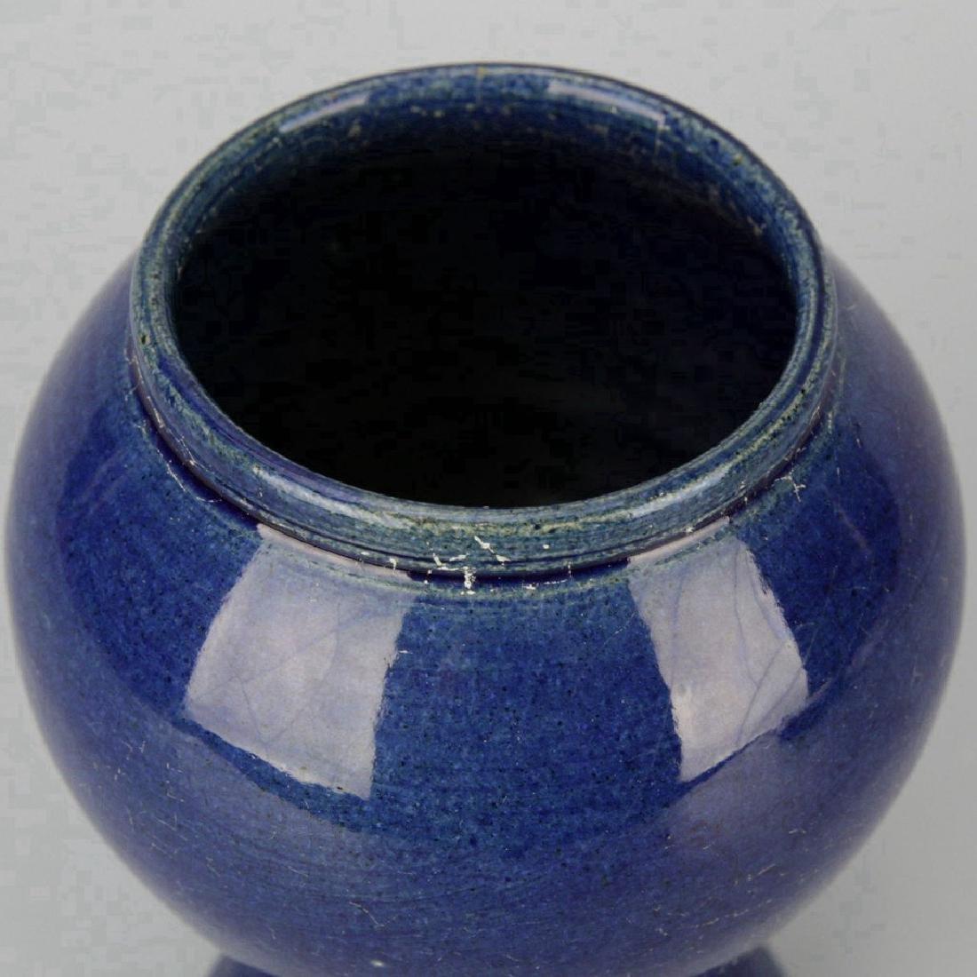 Chinese Cobalt Crackle Porcelain Vase - 3