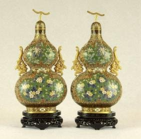 A pair of Chinese Vintage Cloisonn Enamel Vases