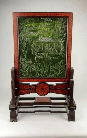Large Chinese Green Jade Panel