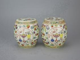 Pair of Small Chinese Polychrome Porcelain Stools