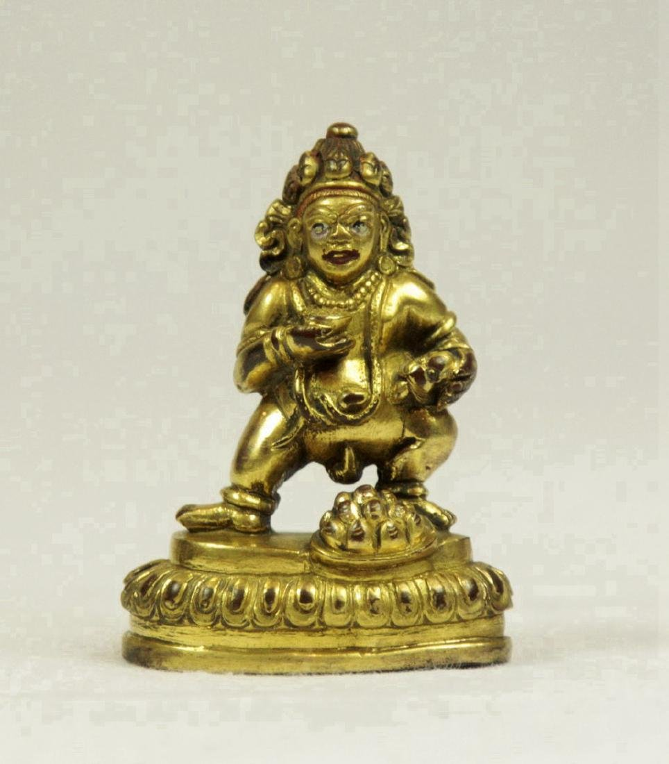 Small Sino-Tibetan Gilt Bronze Figure of Mahakala