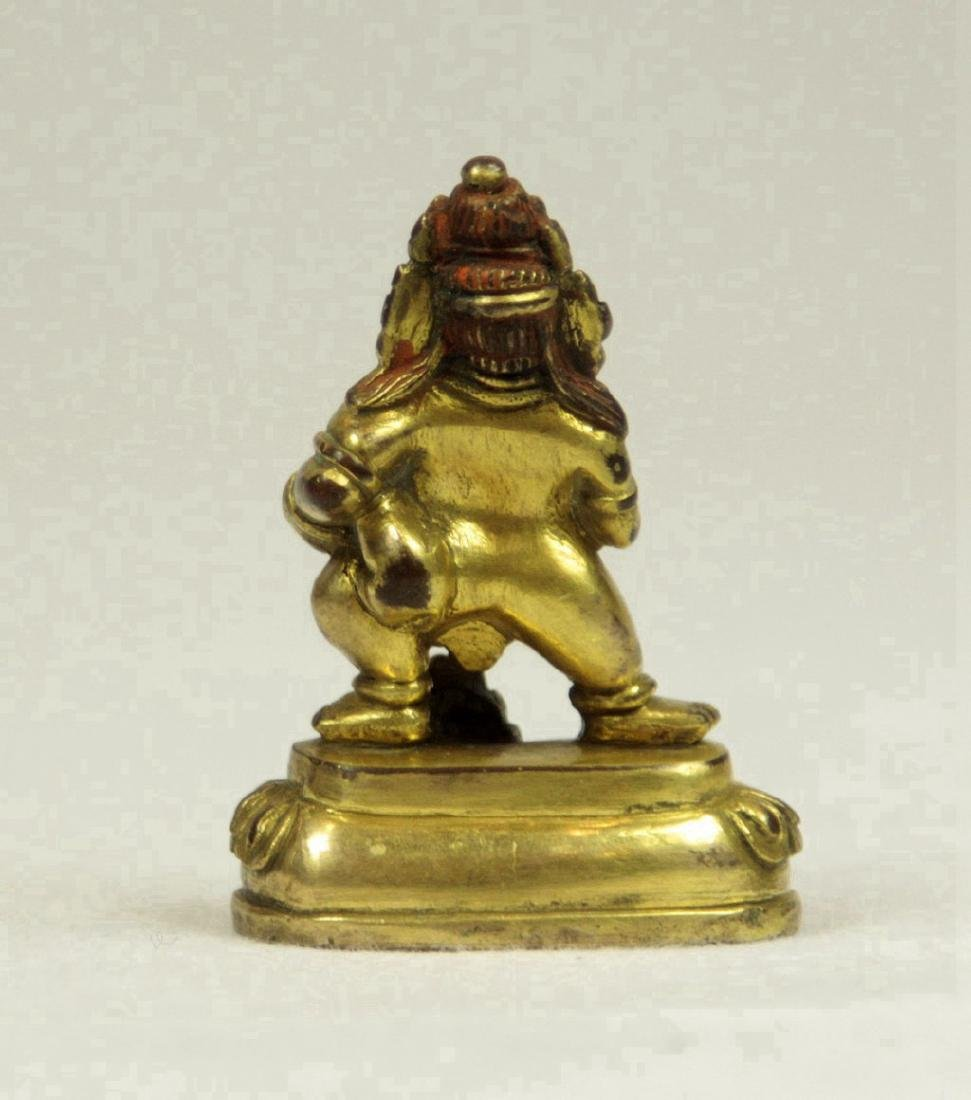 Small Sino-Tibetan Gilt Bronze Figure of Mahakala - 2