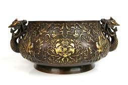 A Chinese Gilt Bronze Censer, Xuande Mark to the Base,