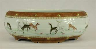 Large Chinese Famille-Rose Porcelain Brush Pot