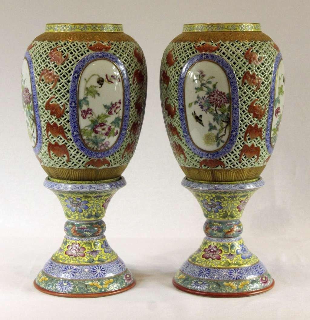 Pair of Chinese Famille-Rose Porcelain Lanterns