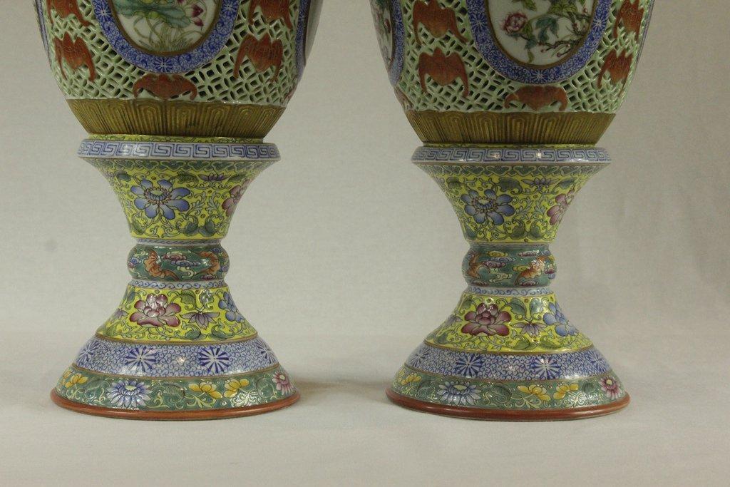 Pair of Chinese Famille-Rose Porcelain Lanterns - 3