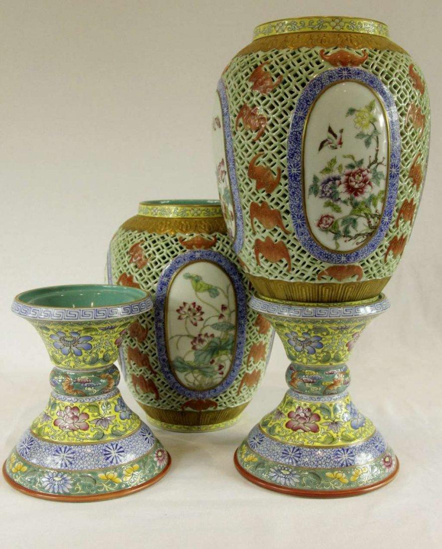 Pair of Chinese Famille-Rose Porcelain Lanterns - 4