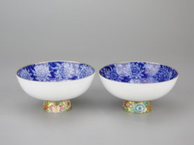 Pair Of Chinese Porcelain Stem Cups