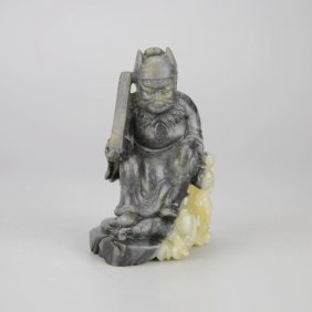 Chinese Jade Carved Figure Of Scholar