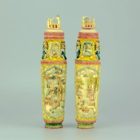 Pair Of Chinese Ivory Carved Urns