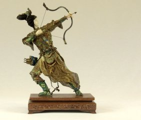 Peking Silver And Ivory Female Archer General Figure