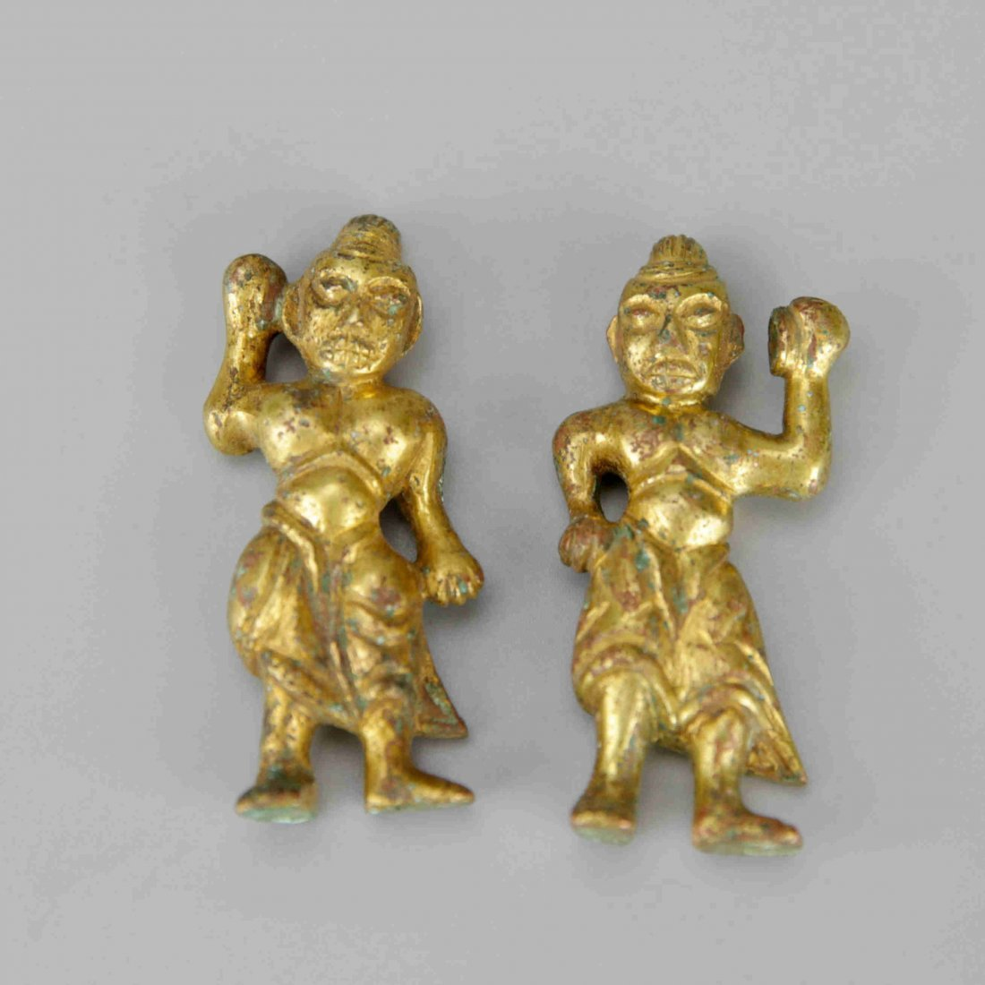 Pair of Small Chinese Gilt-Bronze Figures