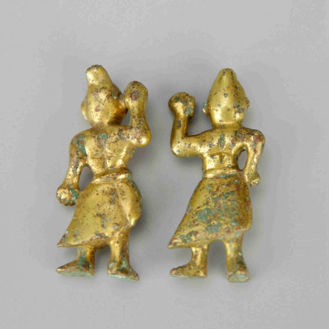 Pair of Small Chinese Gilt-Bronze Figures - 2