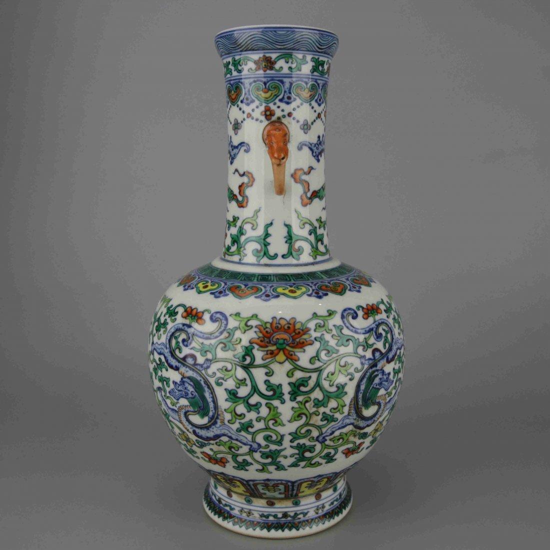 Chinese Vintage Famille Rose Porcelain Vase - 3