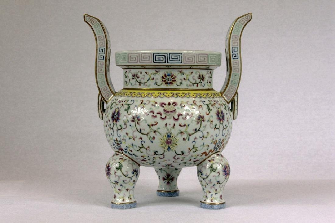 Chinese Tripod Porcelain Censer - 2