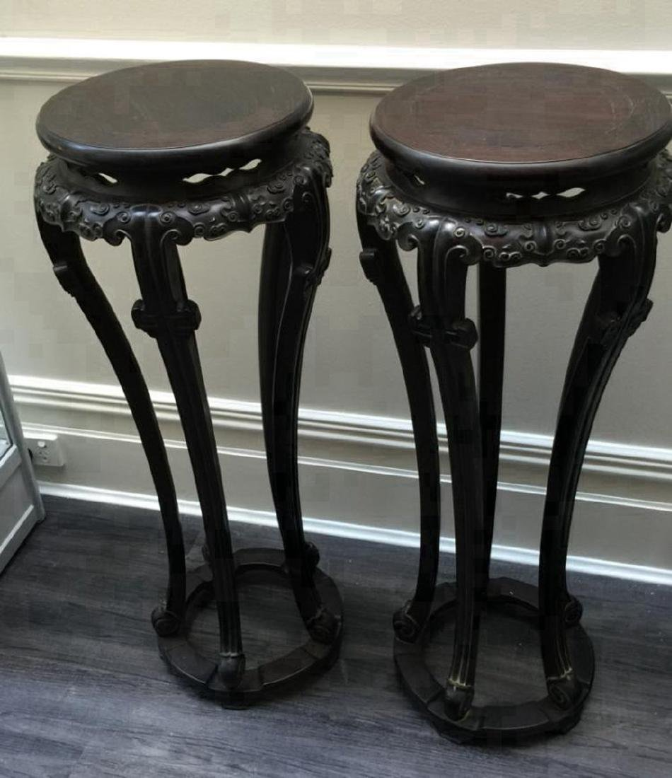 Pair of Antique Chinese Zitan Pot Stands - 2