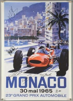 Motorsport - Reproduction Monaco poster signed by six