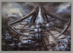 H.R. Giger - signed postcard showing his work, 6 x 4