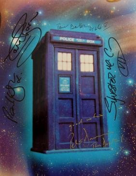 Doctor Who - Tardis multi signed by five Doctors 10 x 8