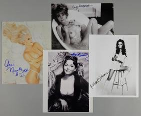 Four signd 10 x 8 inch photographs of actresses