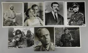 7 signed photographs / cards including Herbert Lom,