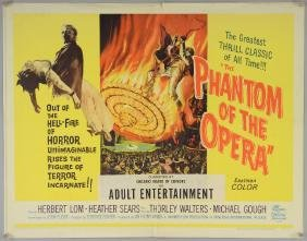 The Phantom Of The Opera (1962) Half sheet film poster,