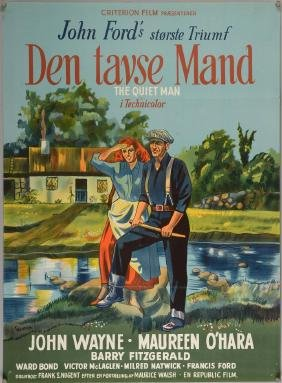The Quiet Man (1951) Danish film poster, direct by John