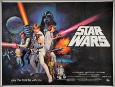 Star Wars (1977) British Quad film poster, Pre Academy