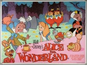 Three Disney film posters, all re-releases Alice In