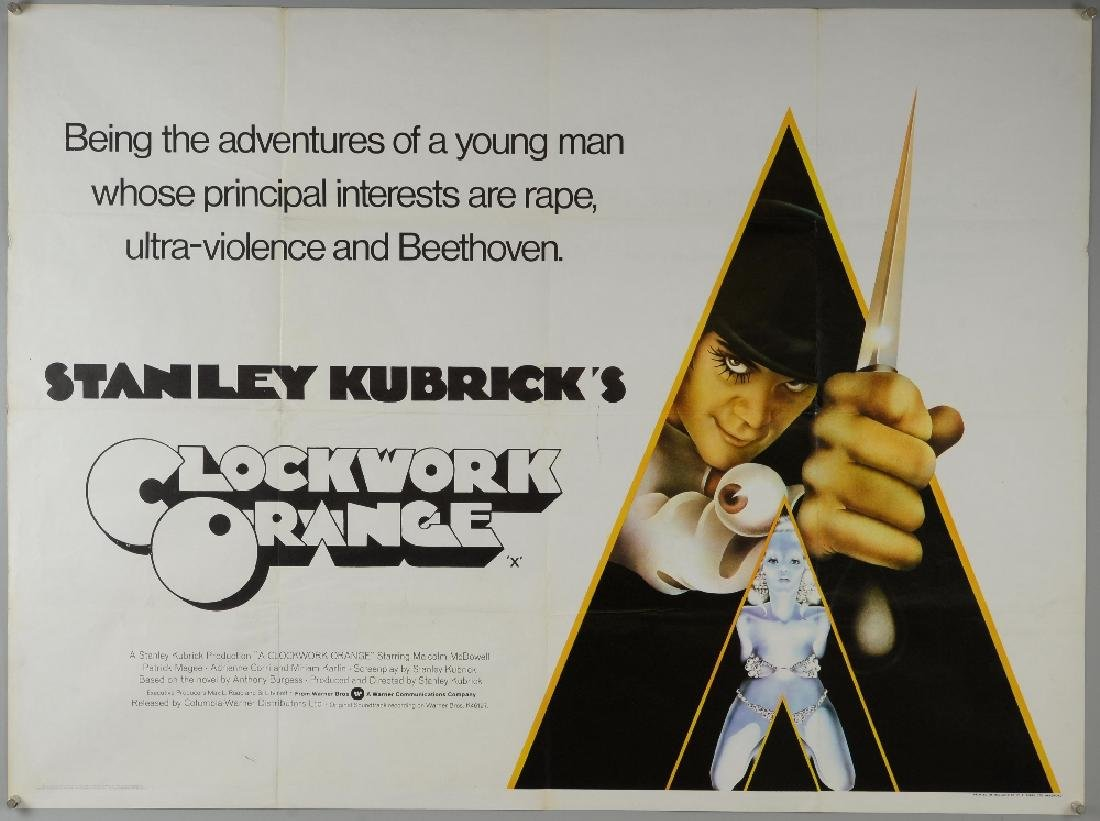 Clockwork Orange (1971) British Quad film poster,