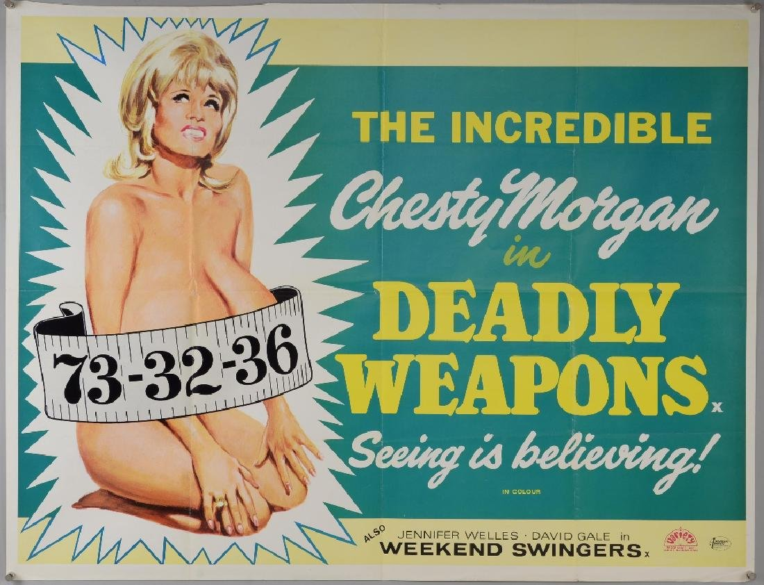 Deadly Weapons (1974) British Quad film poster,